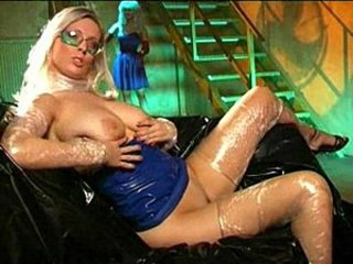 Shiny bitch in off colour latex duds