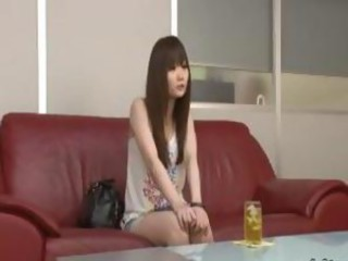 Sexy Japanese babe visits a catch casting couch and blows cock helter-skelter a 69 pose