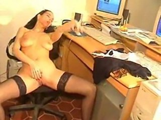 Playing with pussy at the office