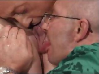 Two old farts have their way with a chubby chick and her holes