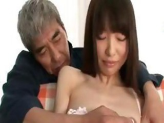 Japanese girl poses and gets toyed by an old guy having fun