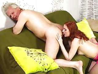 Nasty redhead keeps old cock hard