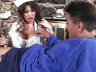 MILF nurse is taking good care of a cock