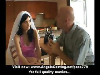 Amateur lovely joyless bride nice talking with a big guy