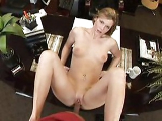 Blonde works on the cock and rides it