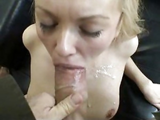 Sexy blonde eats ass and takes a huge load