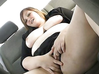 Obese brunette masturbates almost her wheels