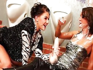 Lesbians have fun with gushing dildos