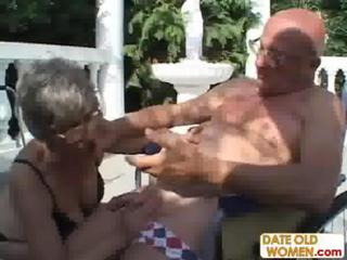 Ancient Grandma Sucks Dick Coupled with Fucks Another Dick