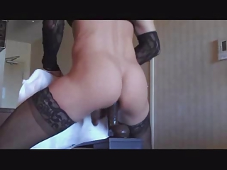 Lonely Ts Uses A Huge Dildo
