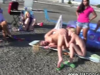 Lesbian Oral Sex Group On Rooftop