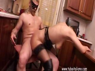 Horny Wife, In A Mask Gets Dp From Hubby's Cock And A Dildo