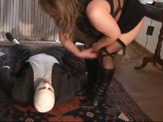 Submissive fucker in dildo mask pleasures his chubby mistress