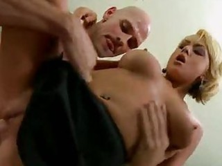 Pretty blonde in his office loves sex