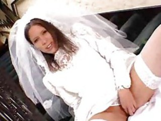 Bride and maid of honor in hot threesome