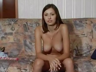 Russian Brunette First Time On Film