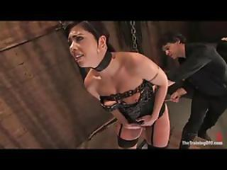 She's In Lingerie And Bondage Being Forced To Masturbate