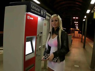 dirty blonde amateur bitch in public