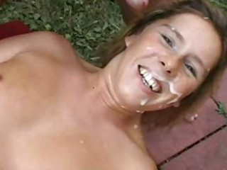 German outdoor amateur gangbang.