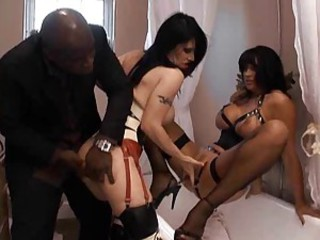 British slut Slayer Rock in a strange ffm threesome scene