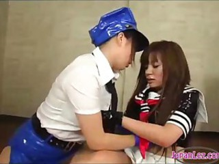 2 Asian Girls In Latex Dresses And Handcuffs Licking And Fingering Pussies On The Mattress In The Gym