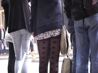 Upskirt black pantyhose 1 HD