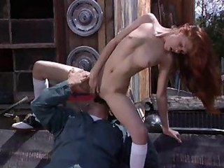 Cute redhead Jubilee chastise a dirty fuck
