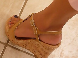 perfect legs and feet weedge heels