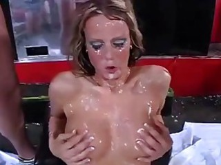 Hot blonde in bukkake and gangbang