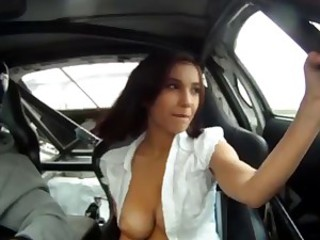 Russian model with big tits in Race Car