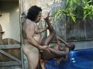 Ebony outside pool slut hammered by the ron