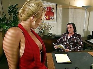 Blond office whore sucking her boss off
