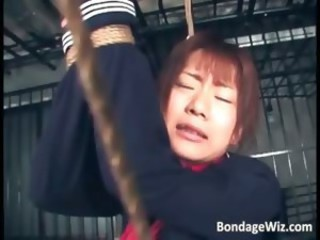 Tied up Asian slut getting punishing part2