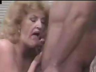 Old blond granny blows his rod, gets nailed and a cumshot