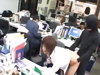 Asian babe cunt fucked at work
