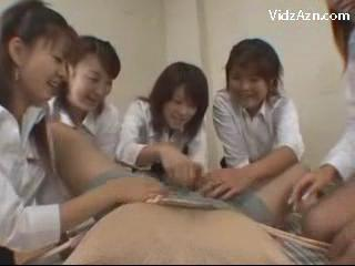 5 Girls In White Shirt Black Skirt Fucking Guys Ass With Toy Jerking Off His Cock