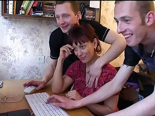 Russian Mom Gangbanged - Mature sex video -