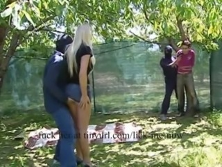 Girl attacked together with d outdoors free
