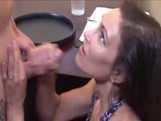 Hot Mom stroking the Waiter
