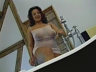 British Busty MILF gets fucked in chum around with annoy bathroom