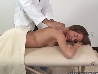Hot babe Sierra Sinn blows a guy in a massage room