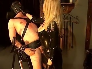 Helpless Following Gets Trained wits Blonde Mistress in Latex