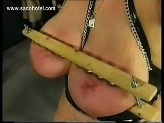 German master spankes older slave on her fat ass and plays with her large...