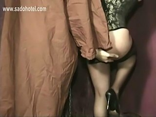 Master finger fucks tied beautiful slave with nice tits and hits her ass with...