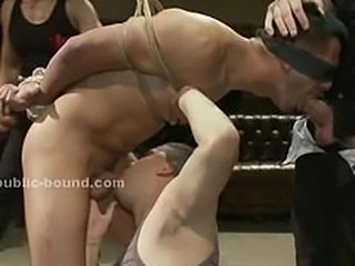 Fetish gay sex slave tied with hands behind is forced...