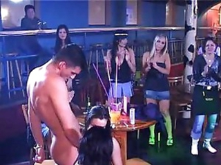Lucky boy on hottie party