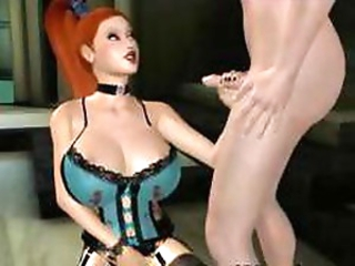 3D cartoon redhead with big tits sucks and fucks