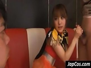 Japanese cheerleader jerks and sucks these cocks for a load