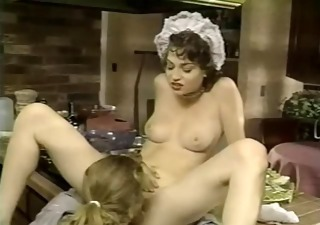 Babe Cute European French Kitchen Lesbian Licking Maid Vintage