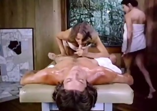 massage table threesome tags, massage three-some retro brunette hair blond